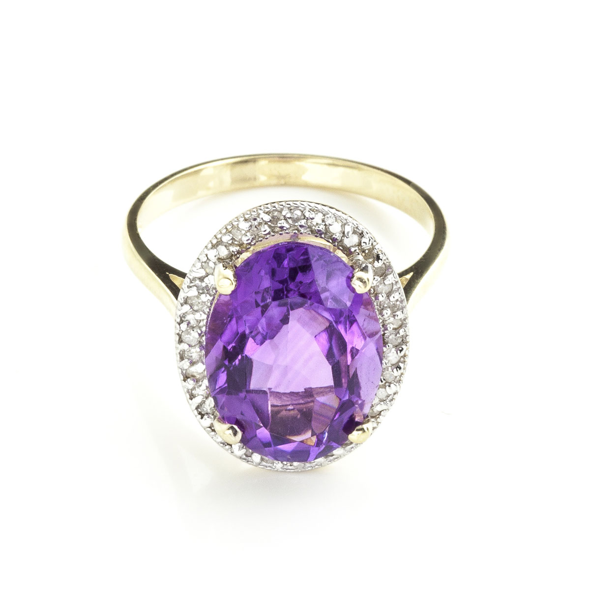 Amethyst Halo Ring 5.28 ctw in 18ct Gold