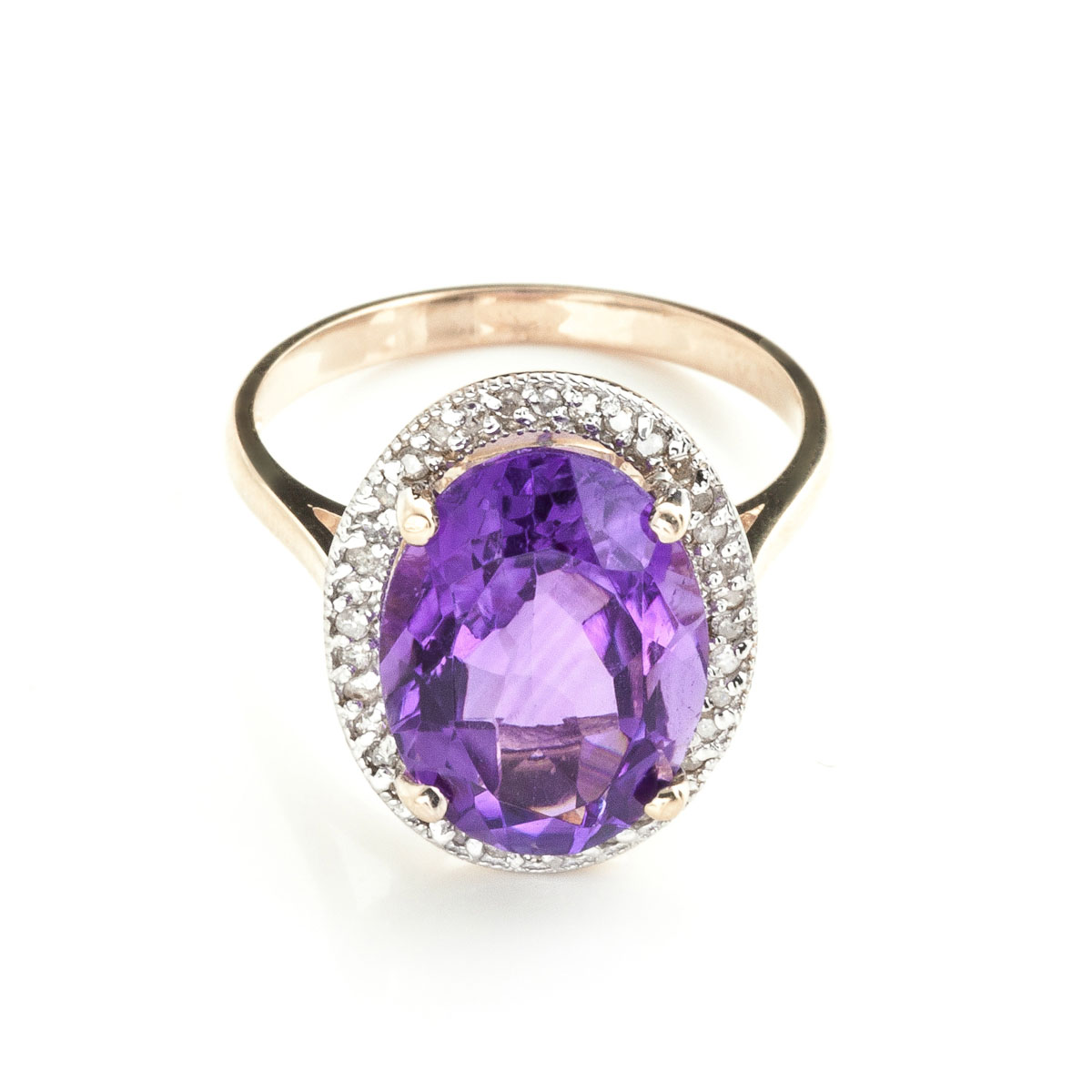Amethyst Halo Ring 5.28 ctw in 18ct Rose Gold
