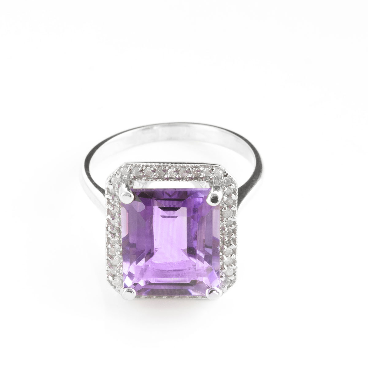 Amethyst Halo Ring 5.8 ctw in 18ct White Gold
