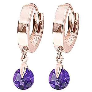 Amethyst Huggie Drop Earrings 1.5 ctw in 9ct Rose Gold