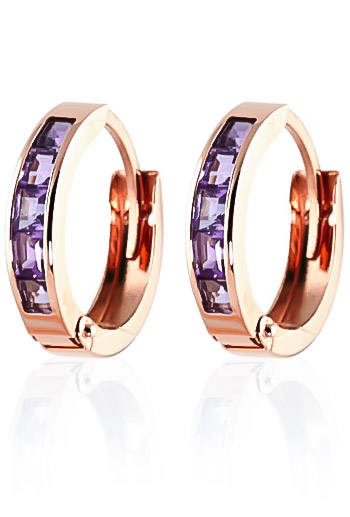 Amethyst Huggie Earrings 0.85 ctw in 9ct Rose Gold