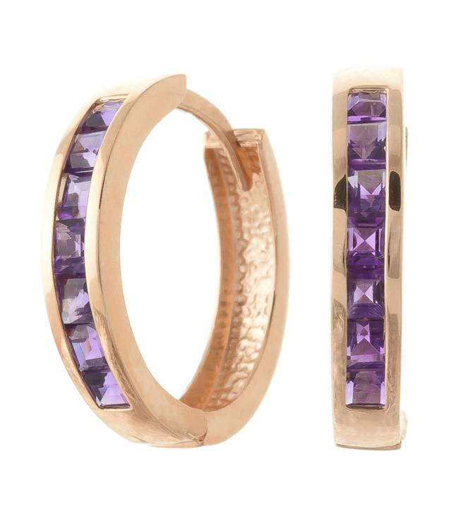 Amethyst Huggie Earrings 1.2 ctw in 9ct Rose Gold