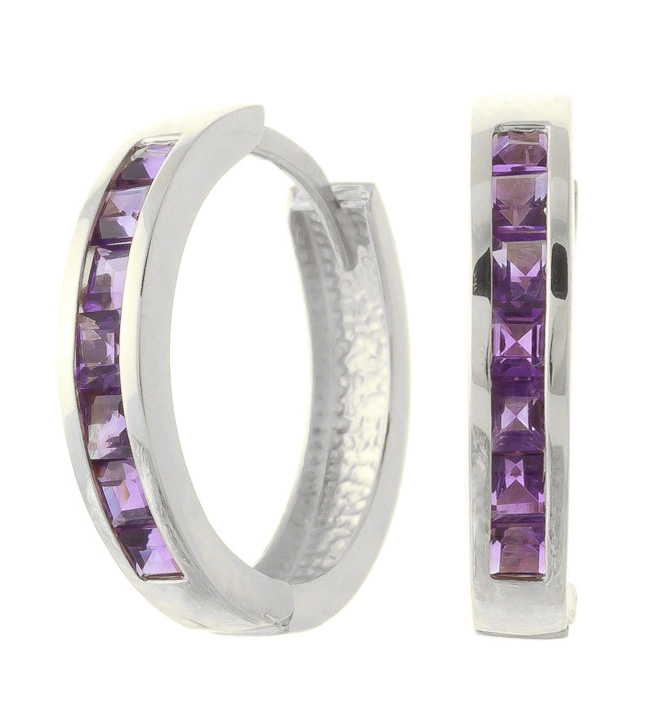 Amethyst Huggie Earrings 1.2 ctw in 9ct White Gold