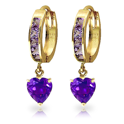 Amethyst Huggie Earrings 4.1 ctw in 9ct Gold