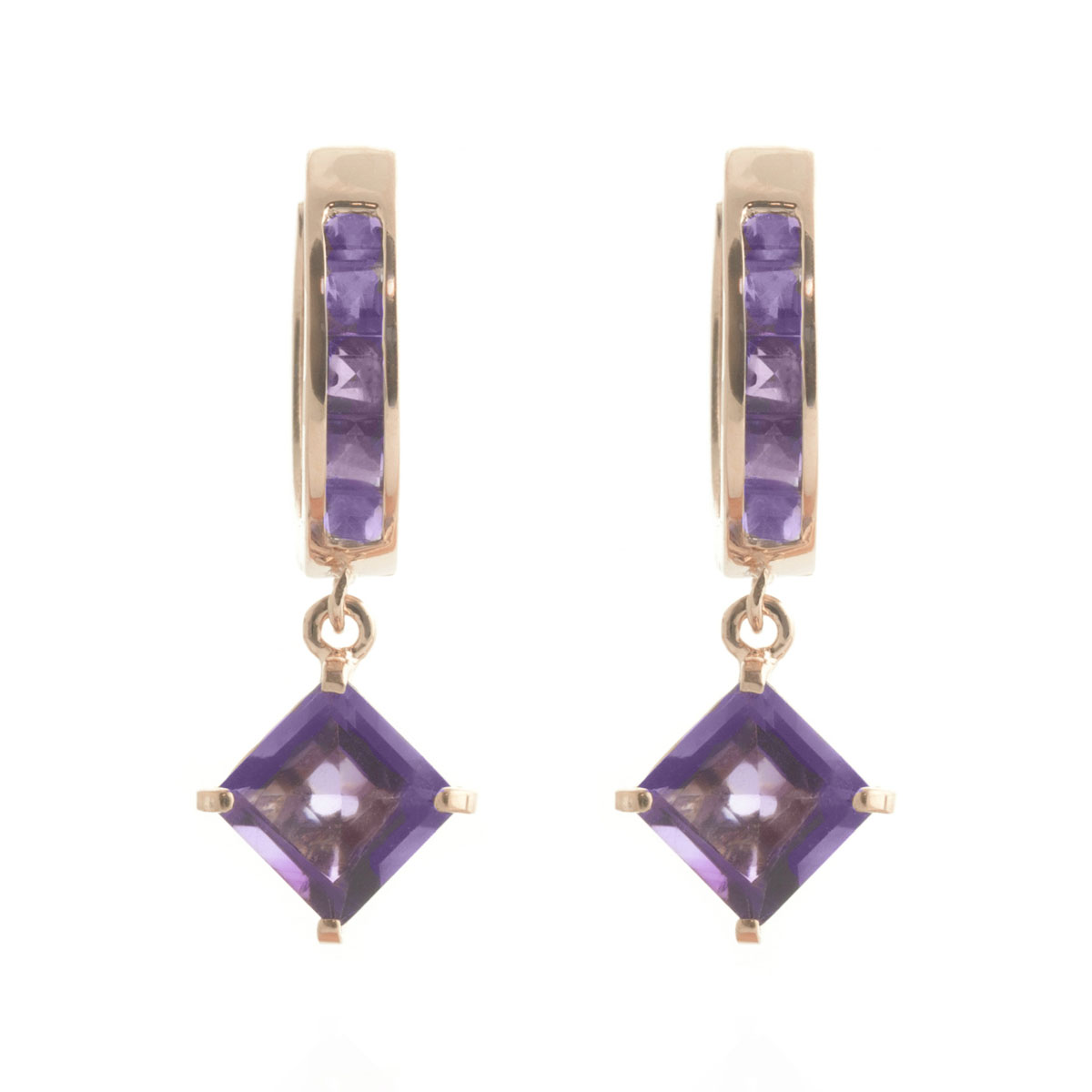 Amethyst Huggie Hoop Earrings 3.8 ctw in 9ct Rose Gold