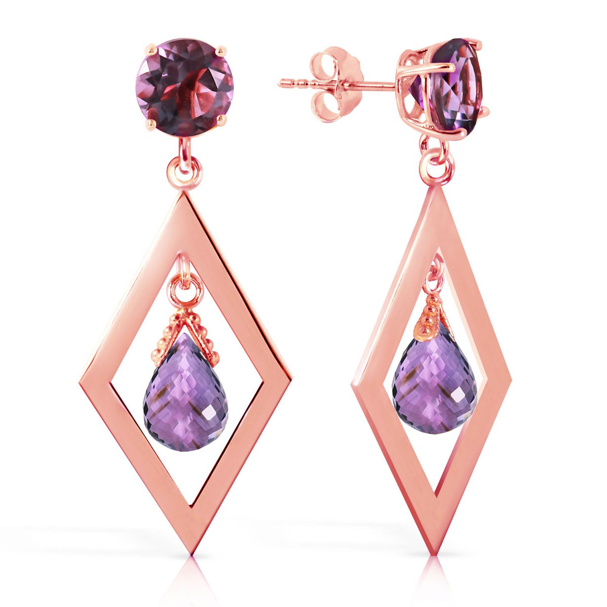 Amethyst Kite Drop Earrings 2.4 ctw in 9ct Rose Gold