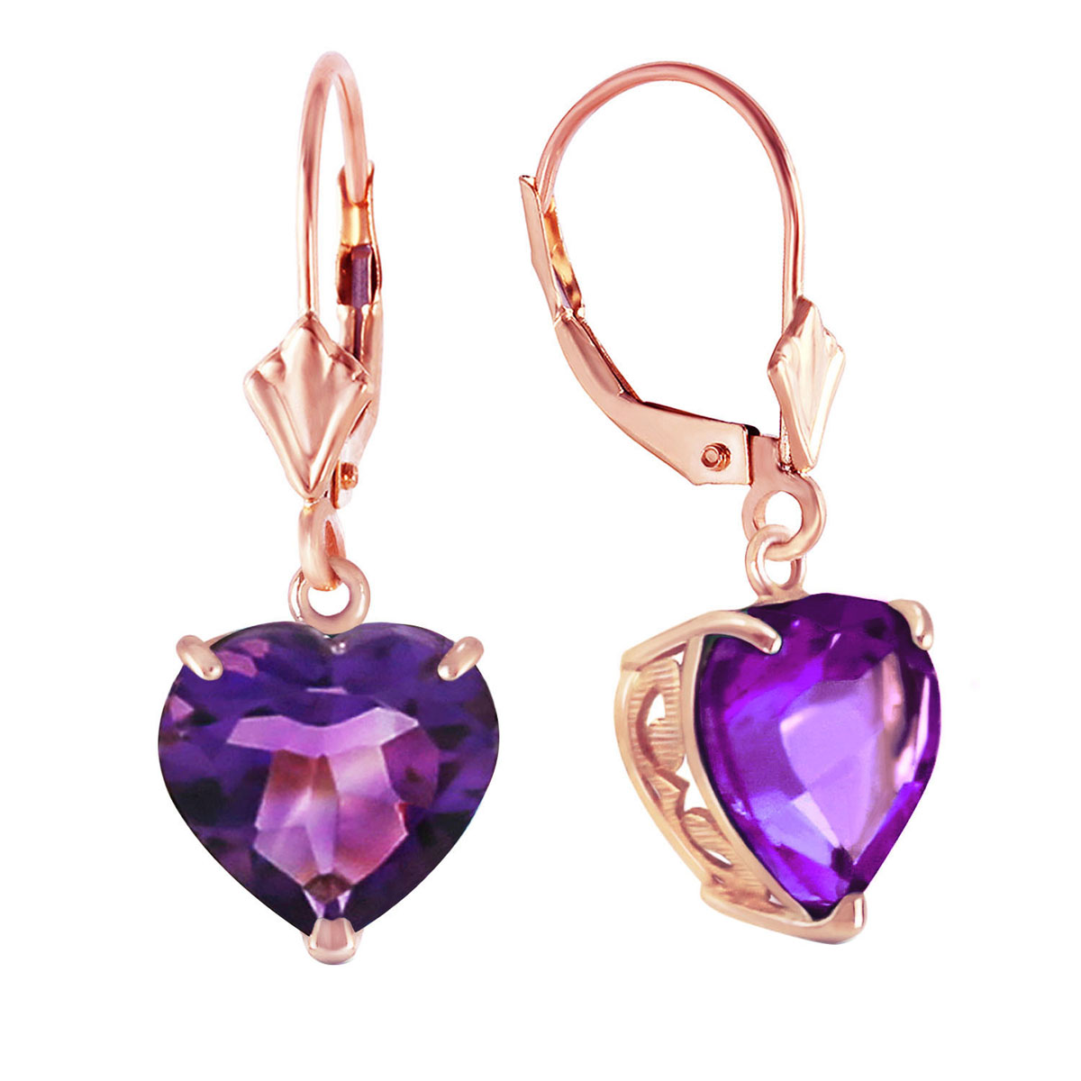 Amethyst Large Heart Earrings 6.2 ctw in 9ct Rose Gold