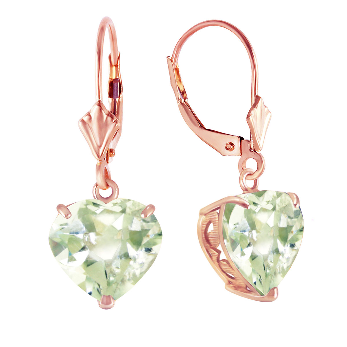 Green Amethyst Large Heart Earrings 6.2 ctw in 9ct Rose Gold