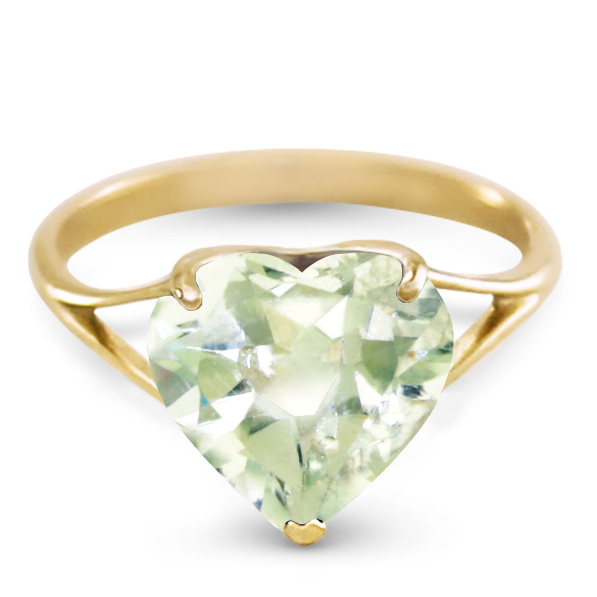 Green Amethyst Large Heart Ring 3.1 ct in 9ct Gold