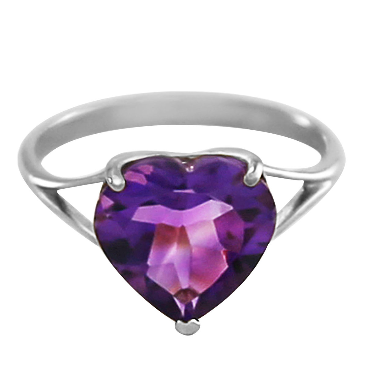Amethyst Large Heart Ring 3.1 ct in 9ct White Gold