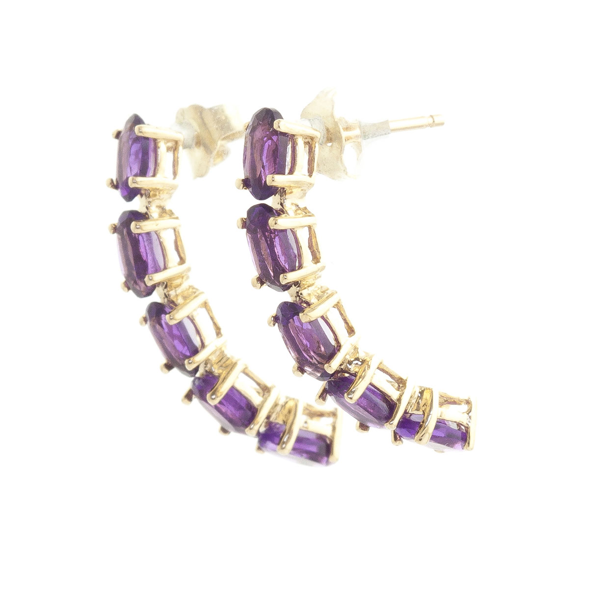 Amethyst Linear Stud Earrings 2.5 ctw in 9ct Gold