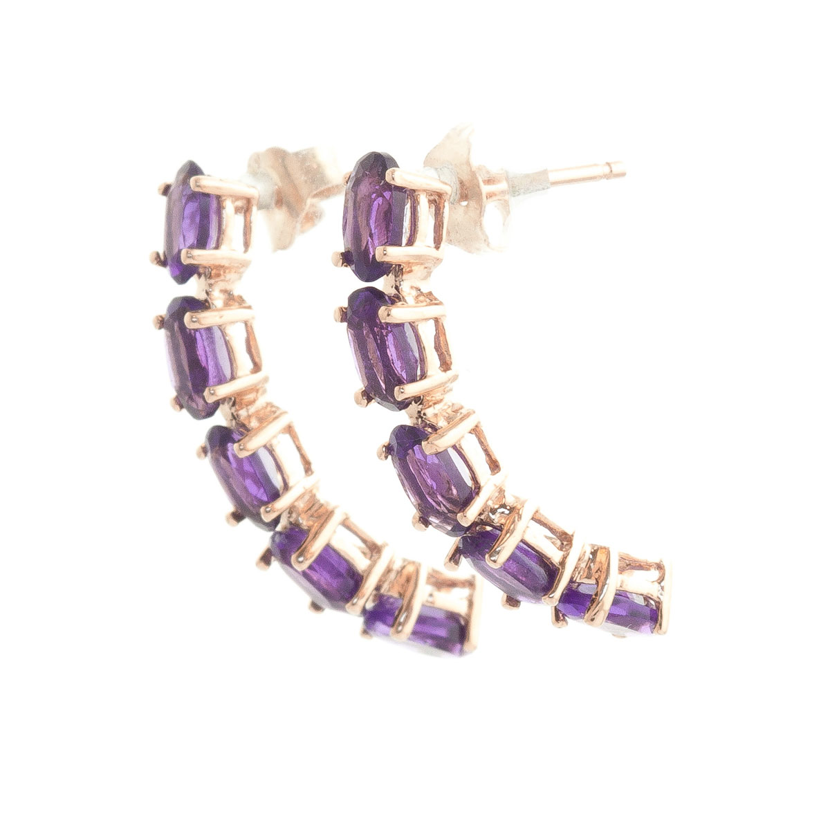 Amethyst Linear Stud Earrings 2.5 ctw in 9ct Rose Gold