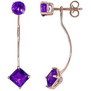 Amethyst Lure Drop Earrings 4.15 ctw in 9ct Rose Gold