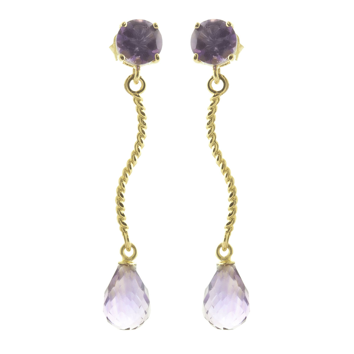 Image of  			   			  			   			  Amethyst Lure Drop Earrings 4.3 ctw in 9ct Gold