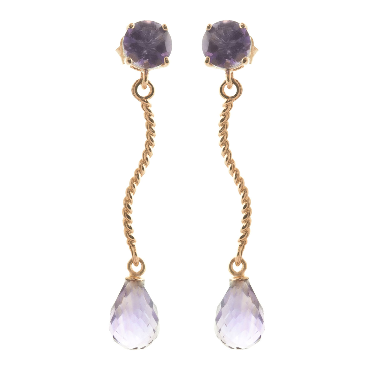 Amethyst Lure Drop Earrings 4.3 ctw in 9ct Rose Gold