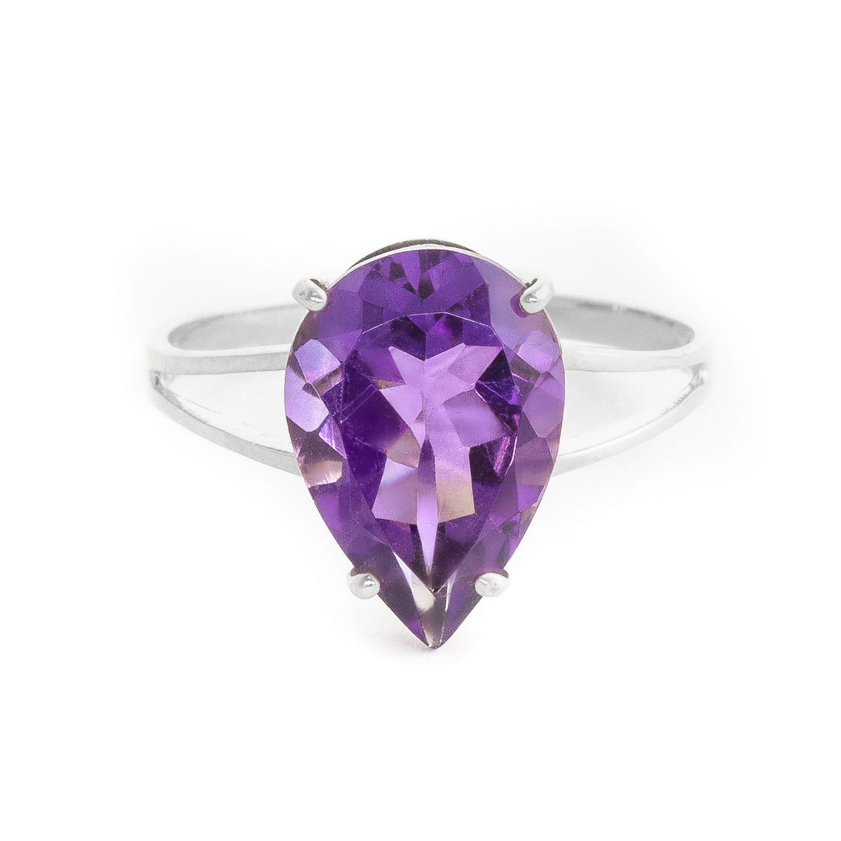 Amethyst Pear Drop Ring 5 ct in 9ct White Gold