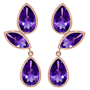 Amethyst Petal Drop Earrings 13 ctw in 9ct Rose Gold