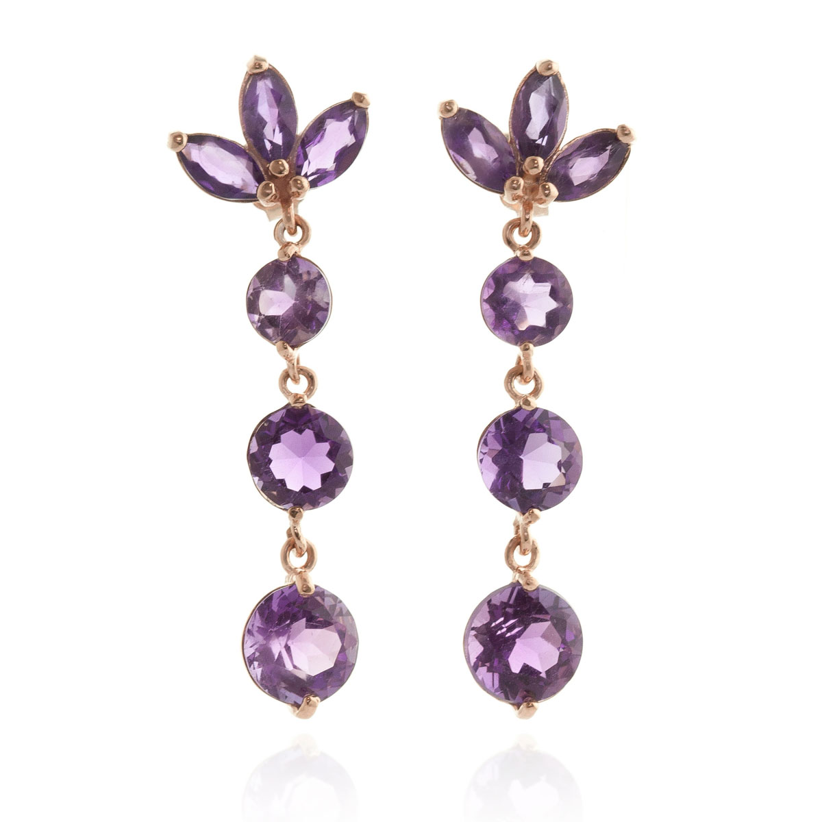 Amethyst Petal Earrings 8.7 ctw in 9ct Rose Gold