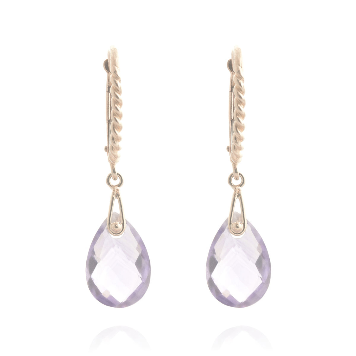 Amethyst Plait Stem Drop Earrings 6 ctw in 9ct Rose Gold
