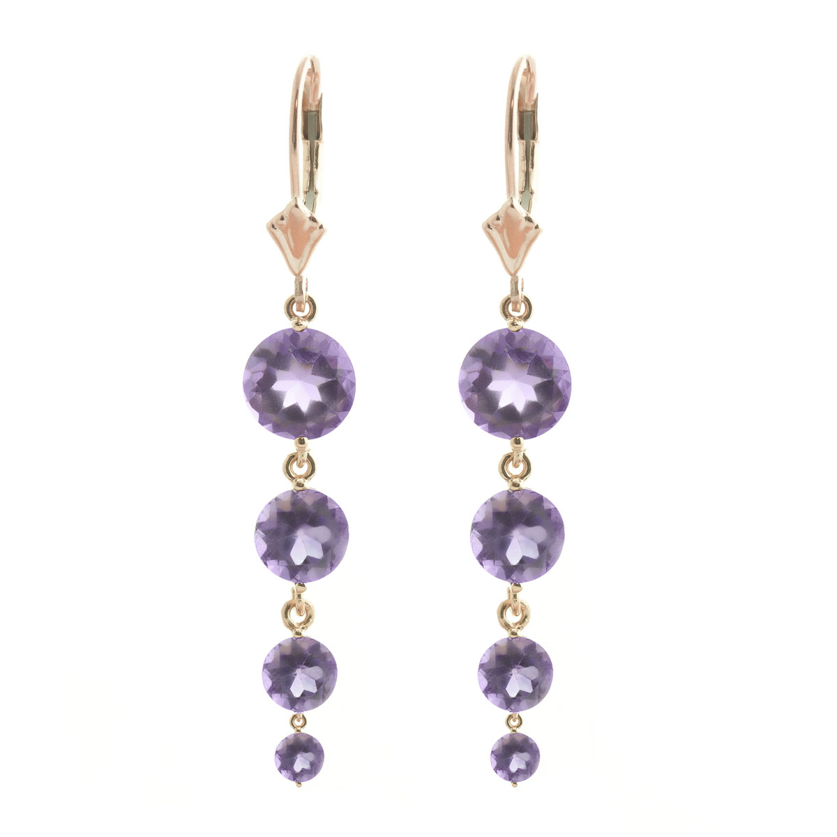 Amethyst Quadruplo Drop Earrings 7.8 ctw in 9ct Rose Gold