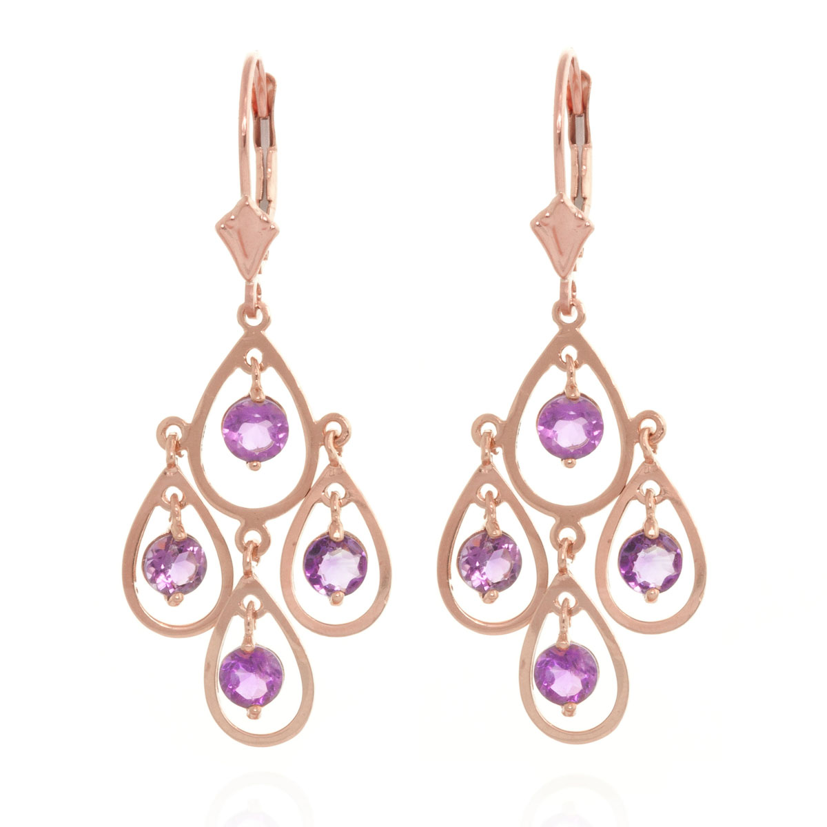 Amethyst Quadruplo Milan Drop Earrings 2.4 ctw in 9ct Rose Gold
