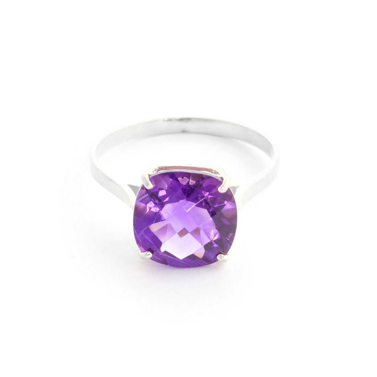 Amethyst Rococo Ring 3.6 ct in 9ct White Gold