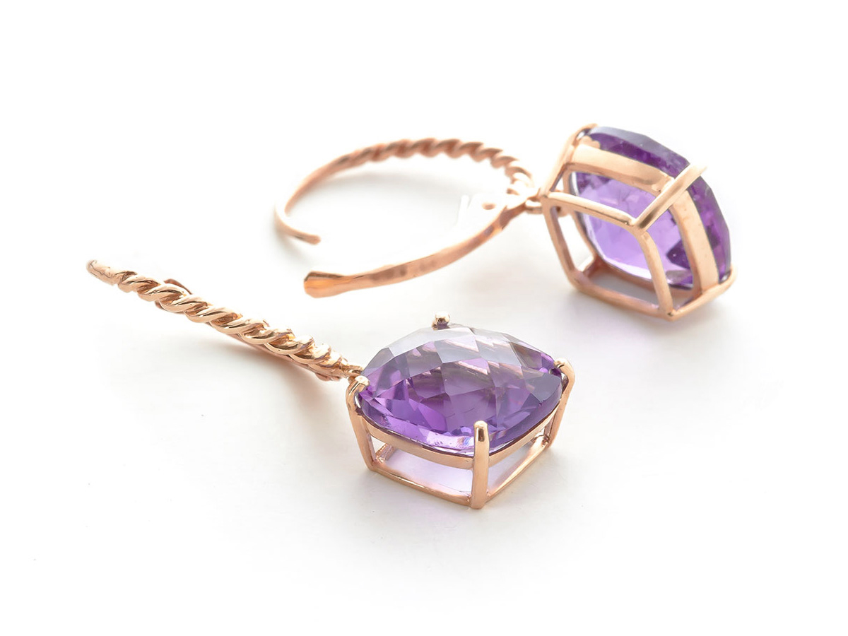Amethyst Rococo Twist Drop Earrings 7.2 ctw in 9ct Rose Gold