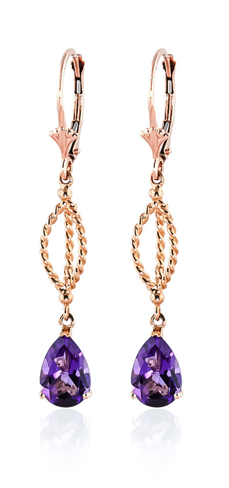 Amethyst Sceptre Drop Earrings 3 ctw in 9ct Rose Gold