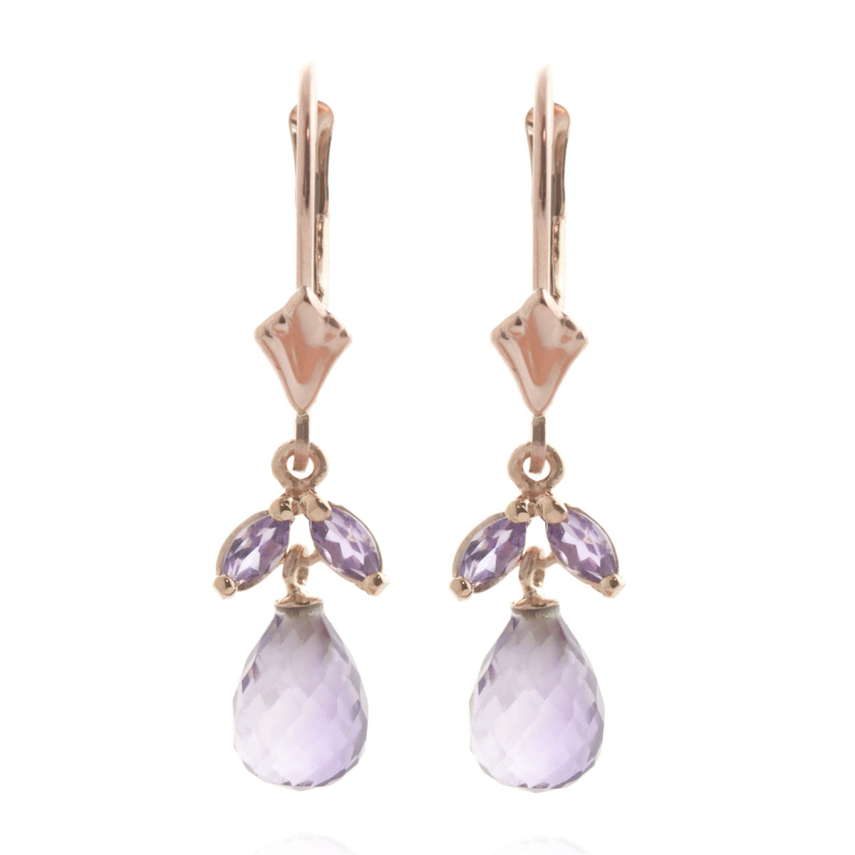 Amethyst Snowdrop Earrings 3.4 ctw in 9ct Rose Gold