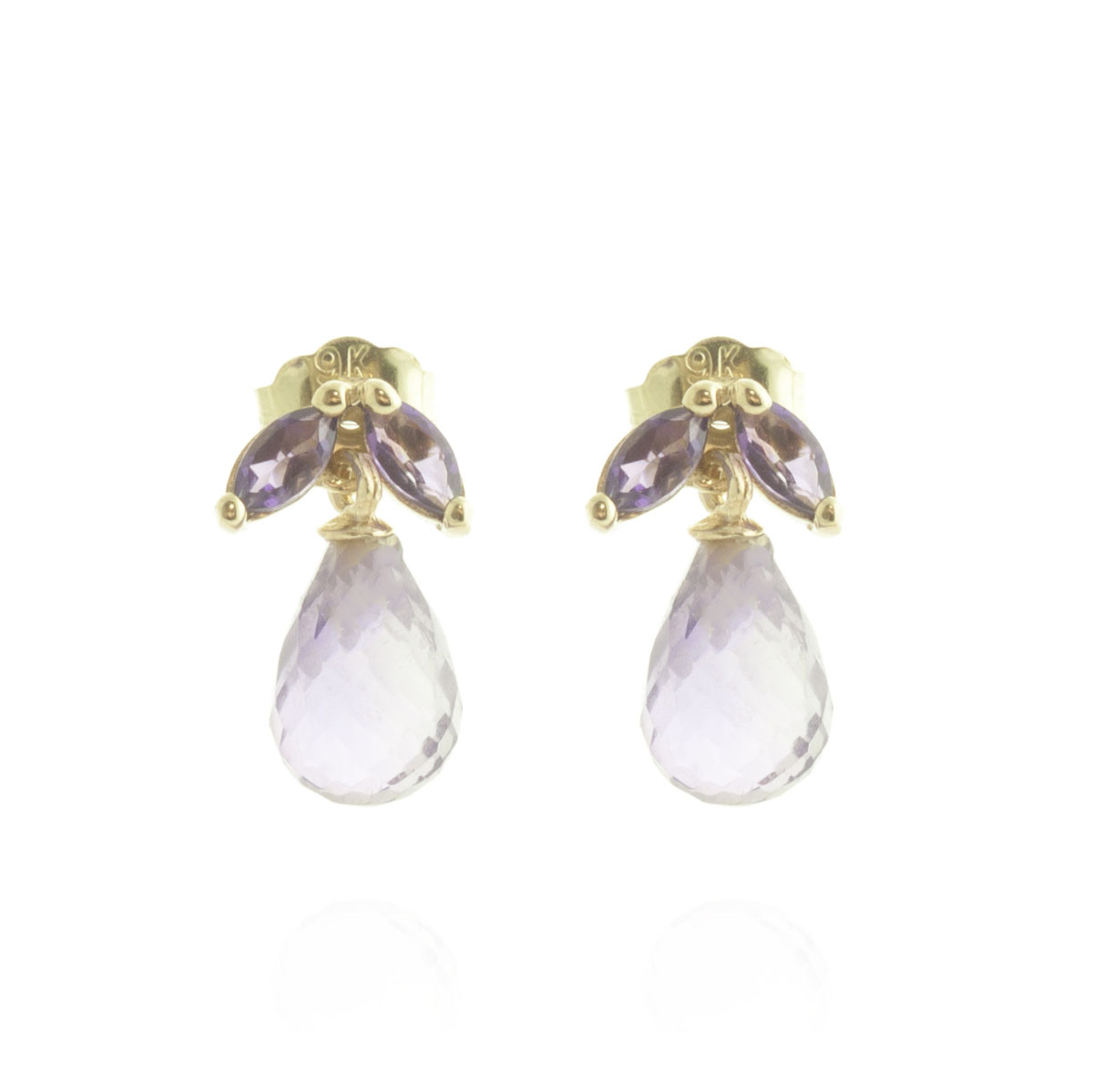 Amethyst Snowdrop Stud Earrings 3.4 ctw in 9ct Gold
