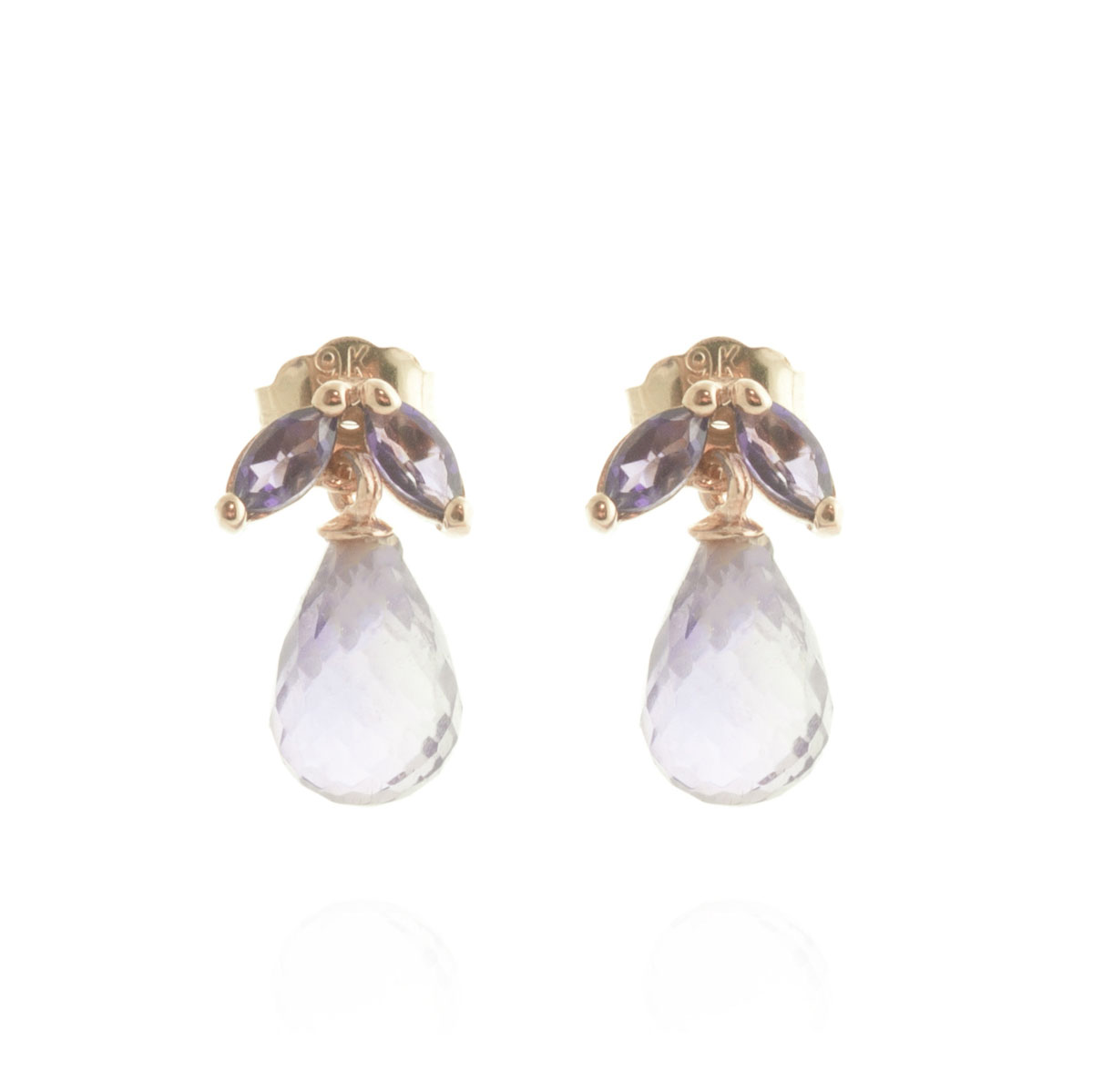Amethyst Snowdrop Stud Earrings 3.4 ctw in 9ct Rose Gold