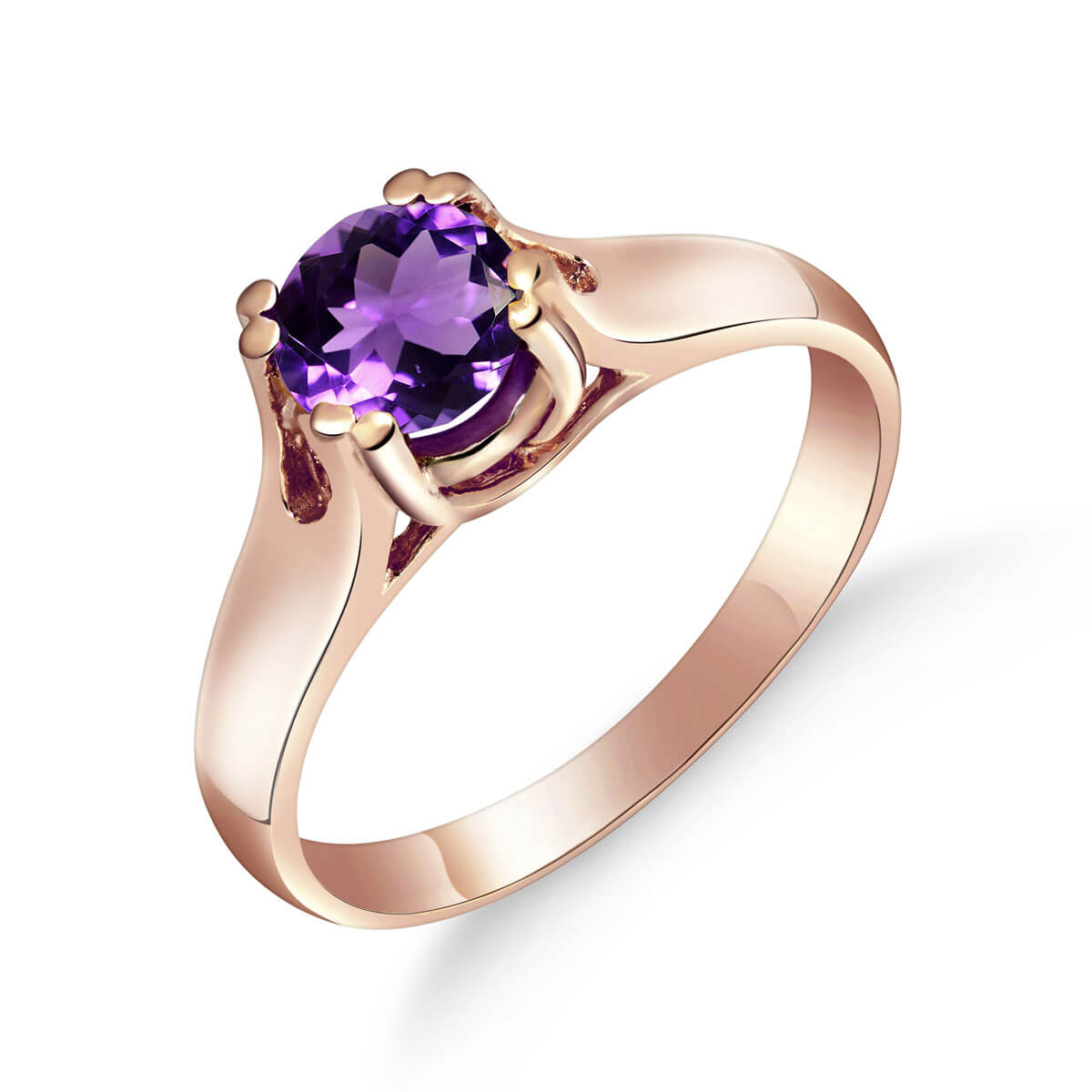 Amethyst Solitaire Ring 1.1 ct in 18ct Rose Gold