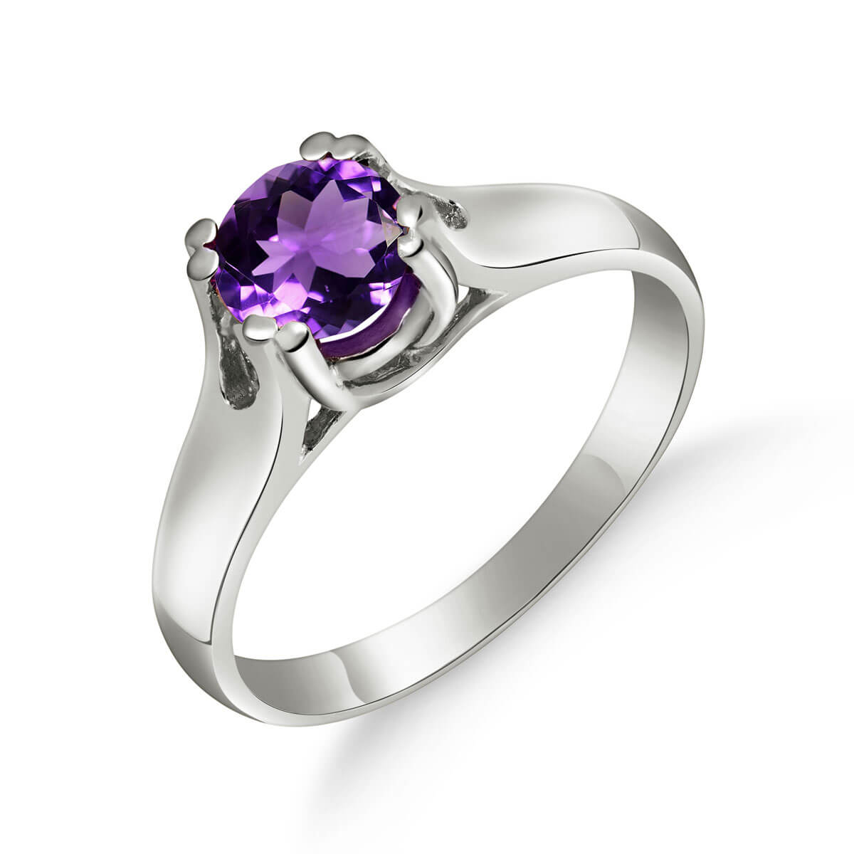Amethyst Solitaire Ring 1.1 ct in 9ct White Gold