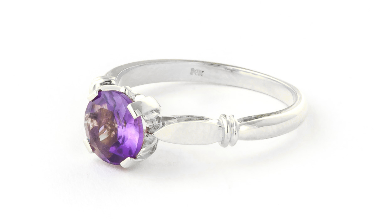 Amethyst Solitaire Ring 1.15 ct in 18ct White Gold