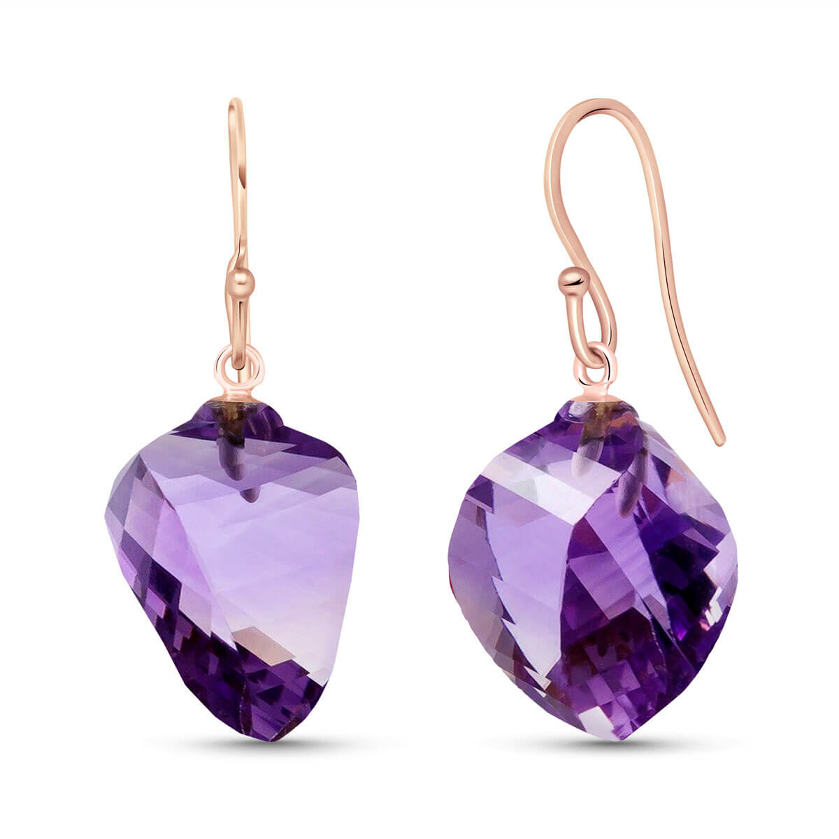 Amethyst Spiral Briolette Drop Earrings 21.5 ctw in 9ct Rose Gold