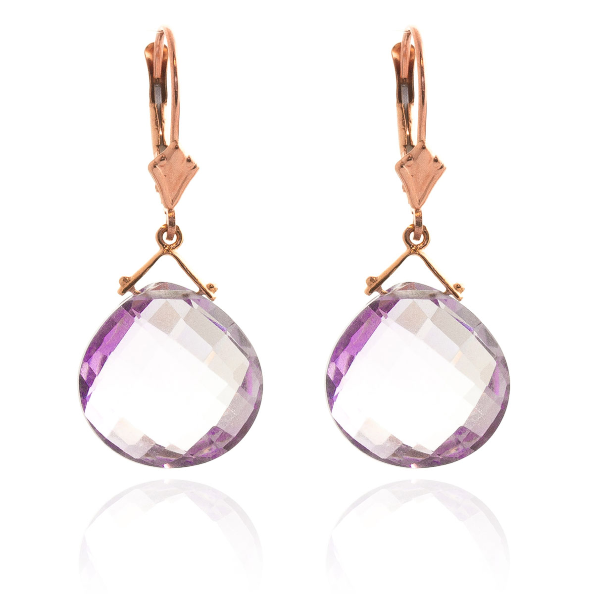 Amethyst Star Drop Earrings 17 ctw in 9ct Rose Gold