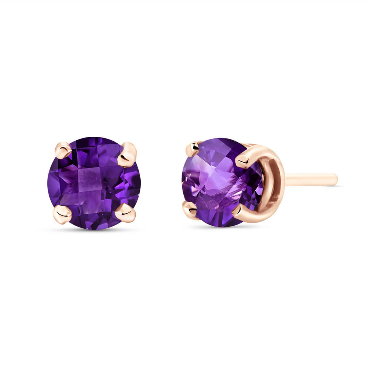 Amethyst Stud Earrings 0.95 ctw in 9ct Rose Gold