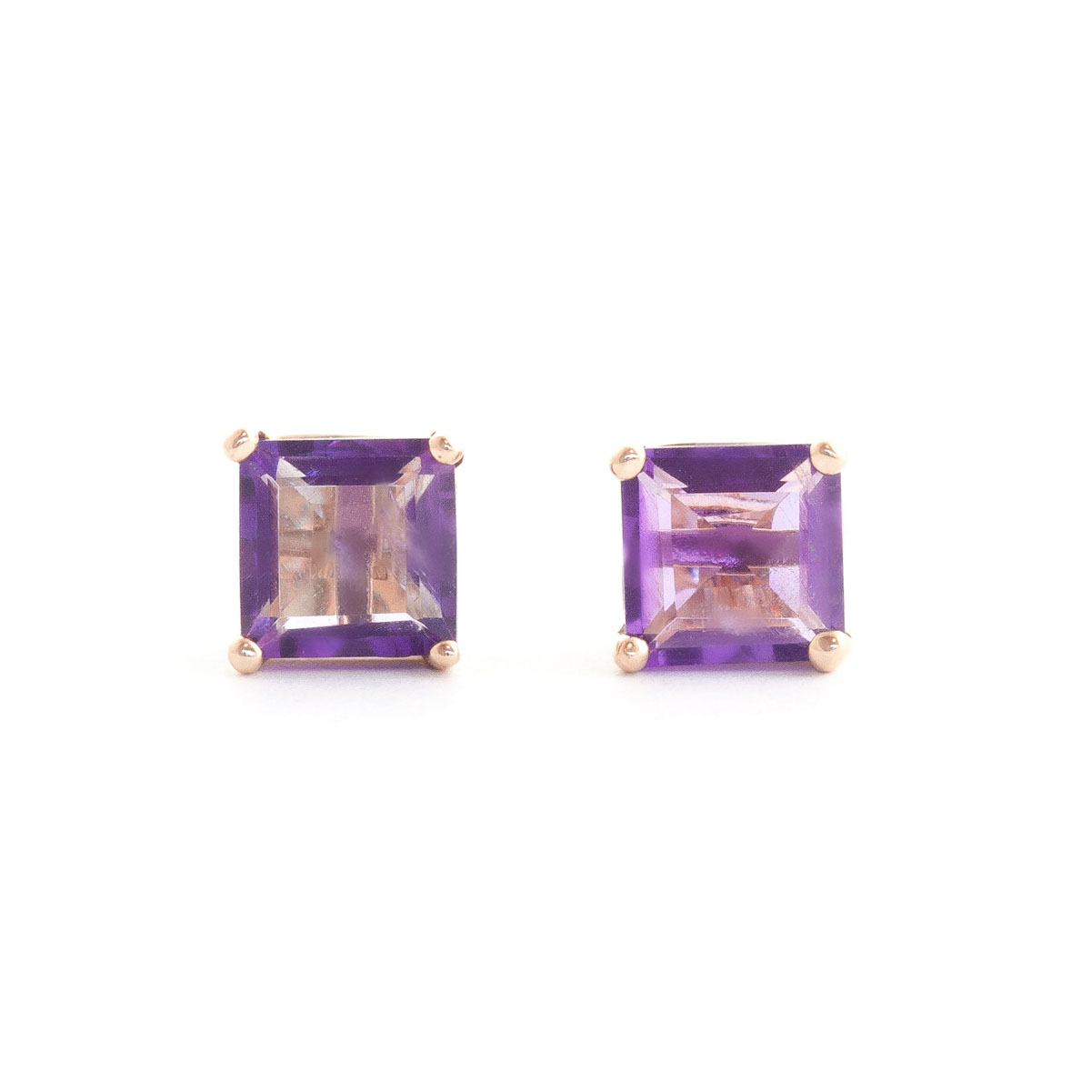 Amethyst Stud Earrings 1.75 ctw in 9ct Rose Gold