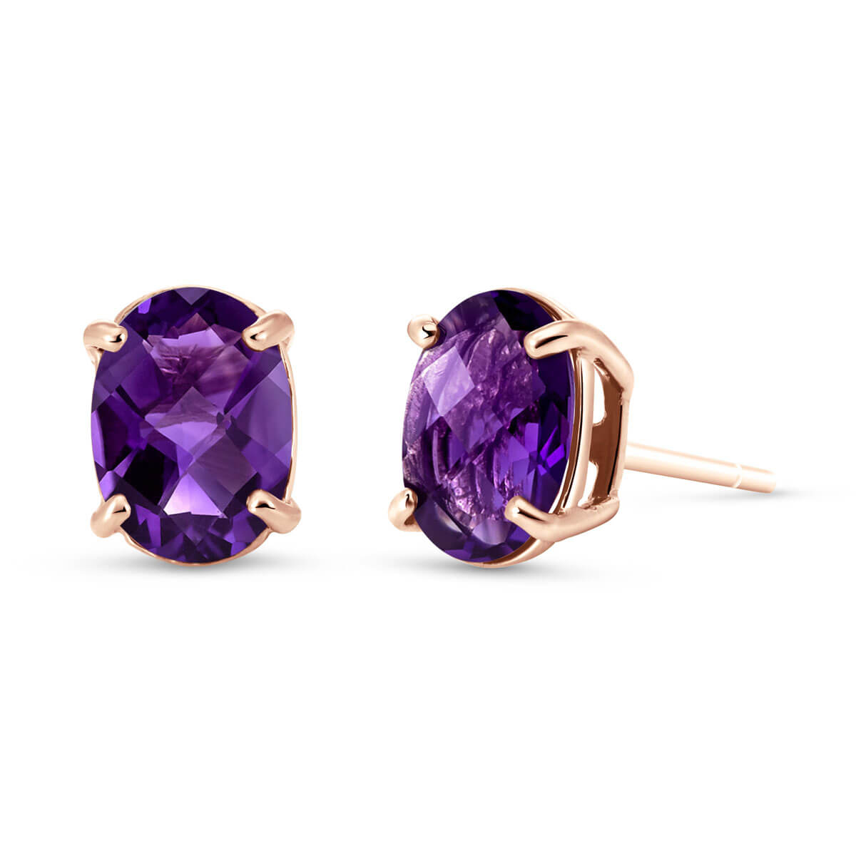 Amethyst Stud Earrings 1.8 ctw in 9ct Rose Gold