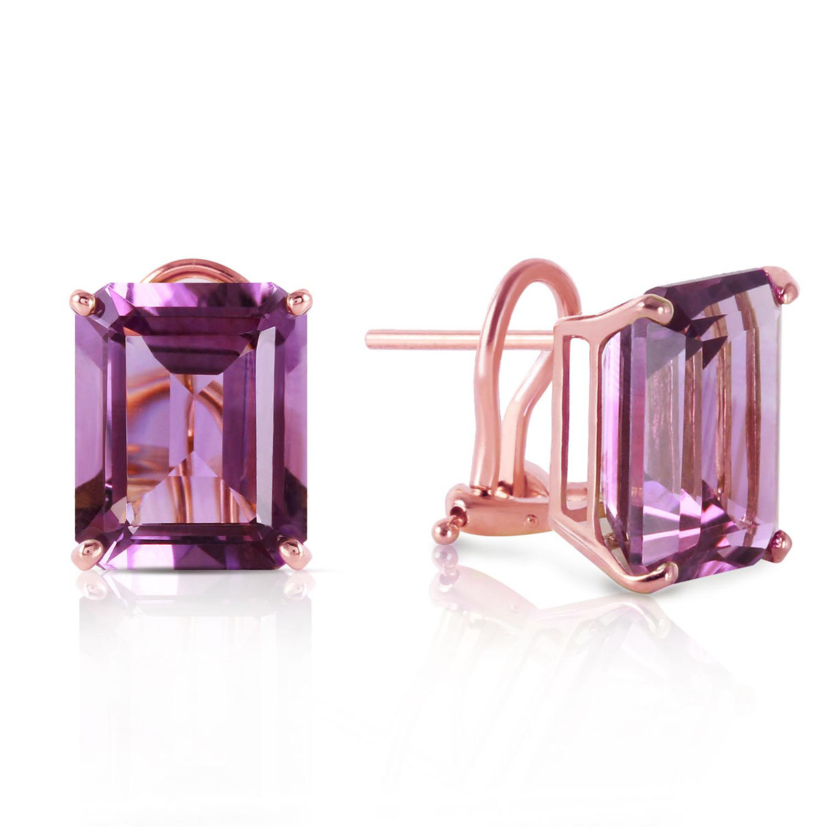 Amethyst Stud Earrings 13 ctw in 9ct Rose Gold