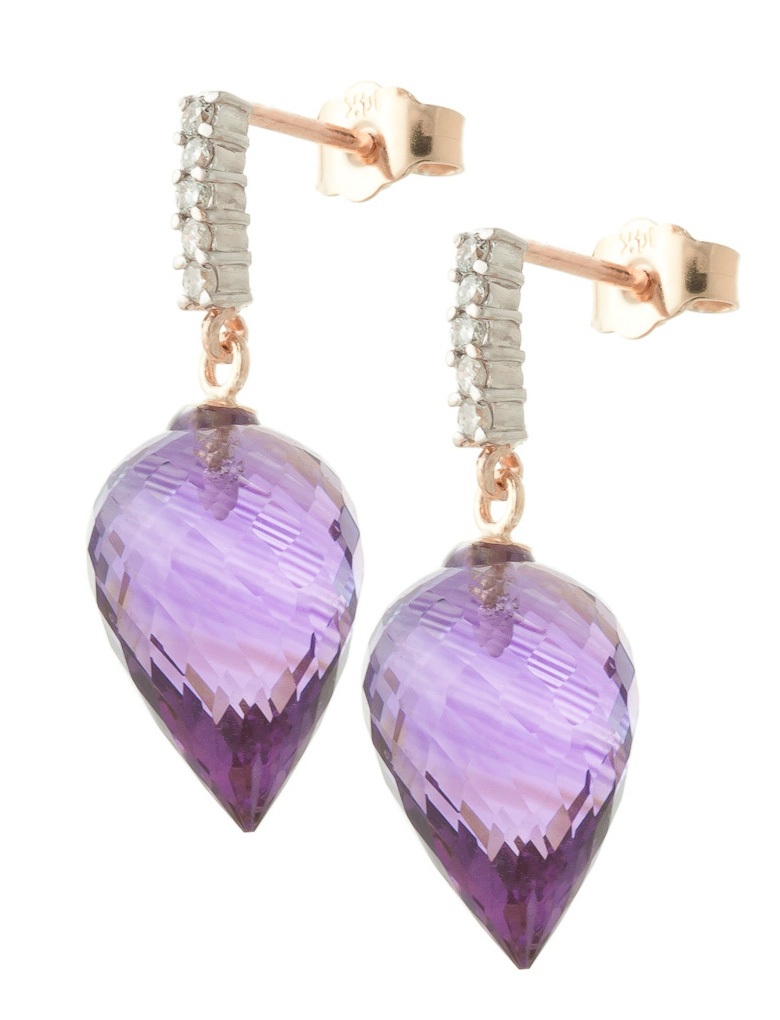 Amethyst Stud Earrings 19.15 ctw in 9ct Rose Gold