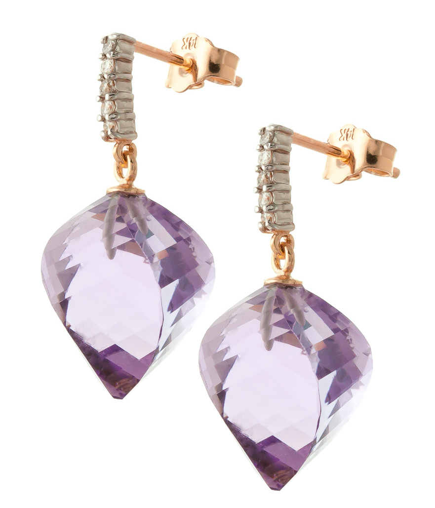 Amethyst Stud Earrings 21.65 ctw in 9ct Rose Gold