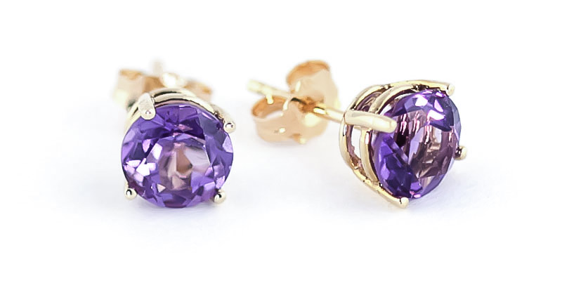 Amethyst Stud Earrings 3.1 ctw in 9ct Gold