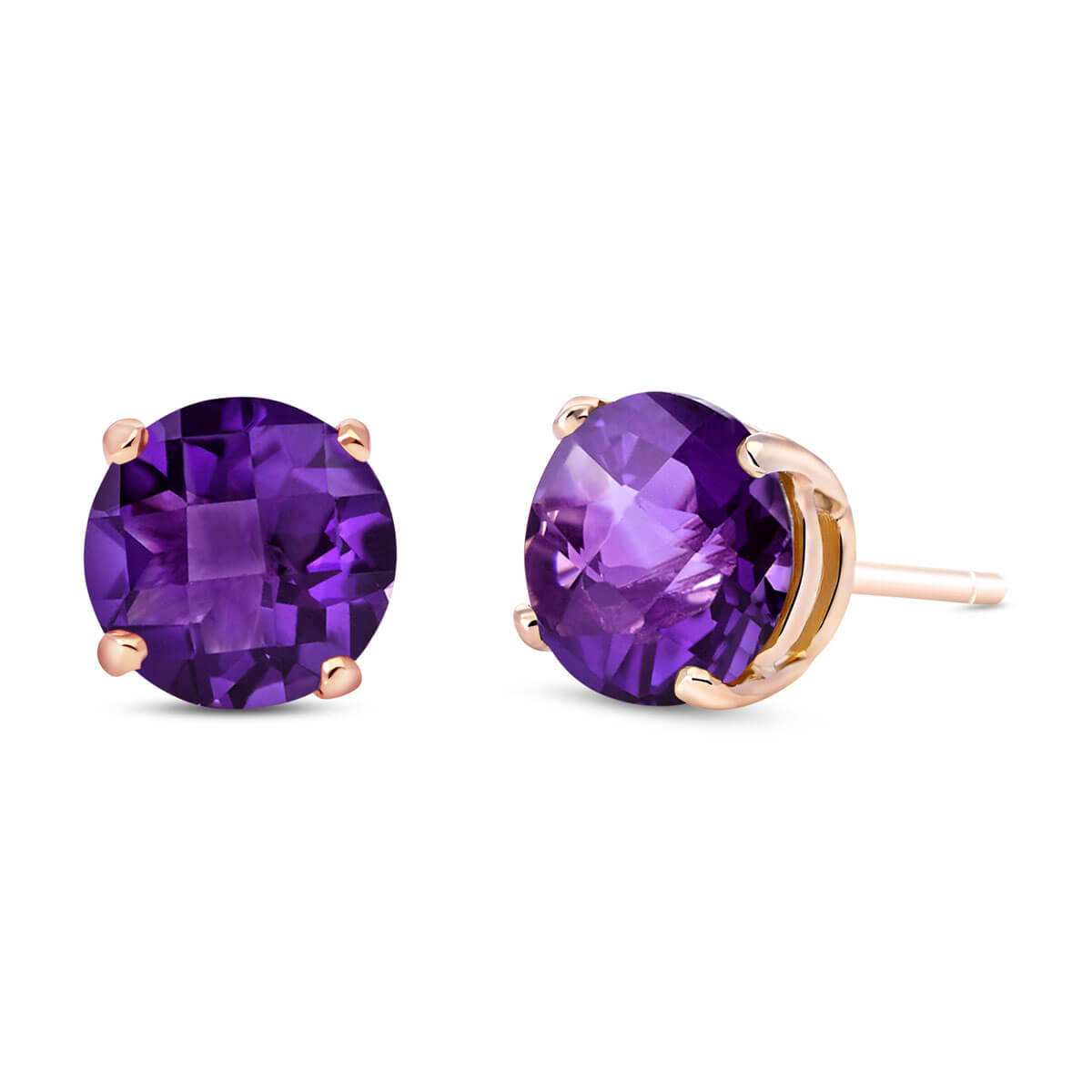 Amethyst Stud Earrings 3.1 ctw in 9ct Rose Gold