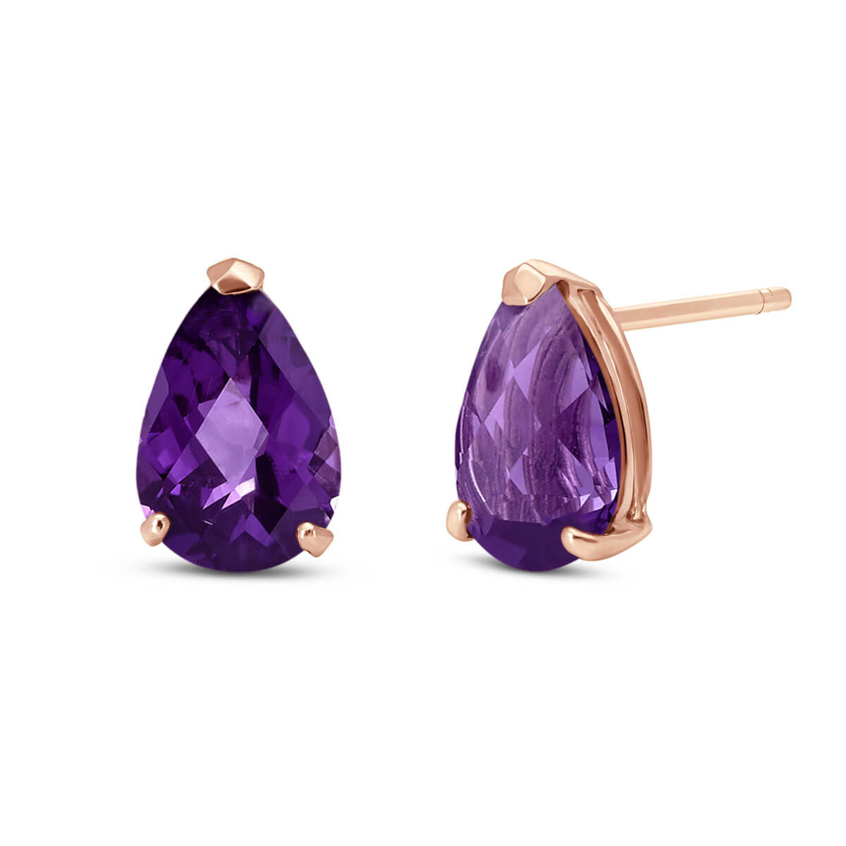 Amethyst Stud Earrings 3.15 ctw in 9ct Rose Gold