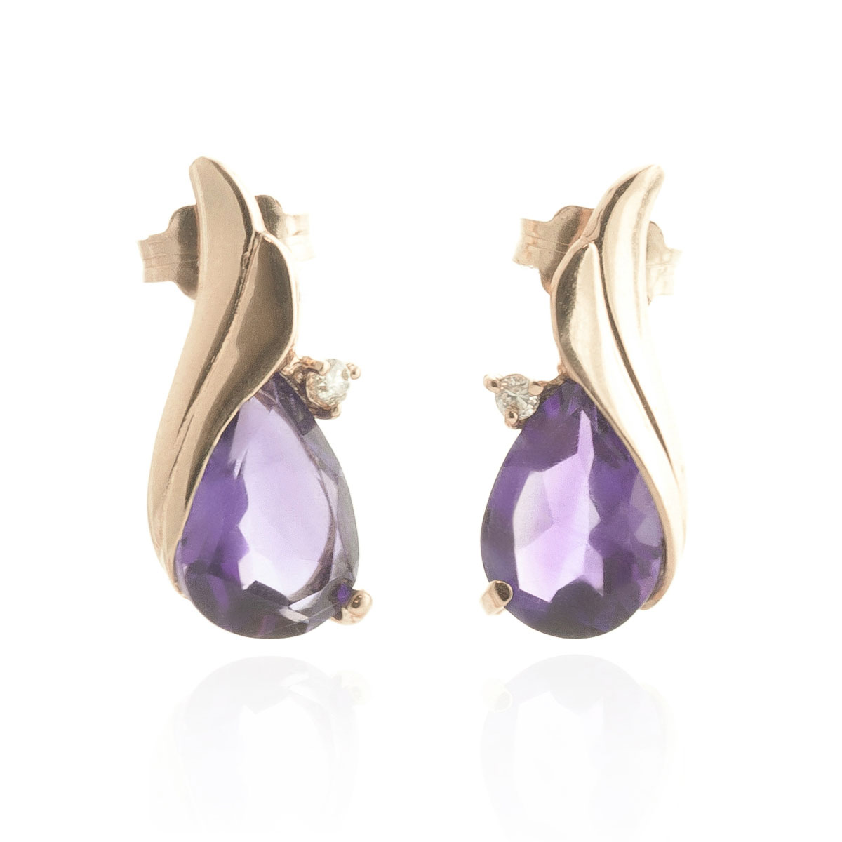 Amethyst Stud Earrings 3.16 ctw in 9ct Rose Gold