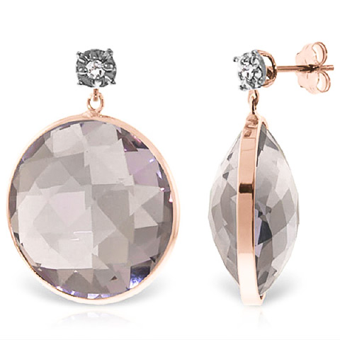 Amethyst Stud Earrings 36.06 ctw in 9ct Rose Gold