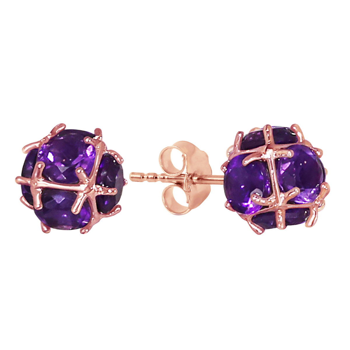 Amethyst Stud Earrings 5.7 ctw in 9ct Rose Gold