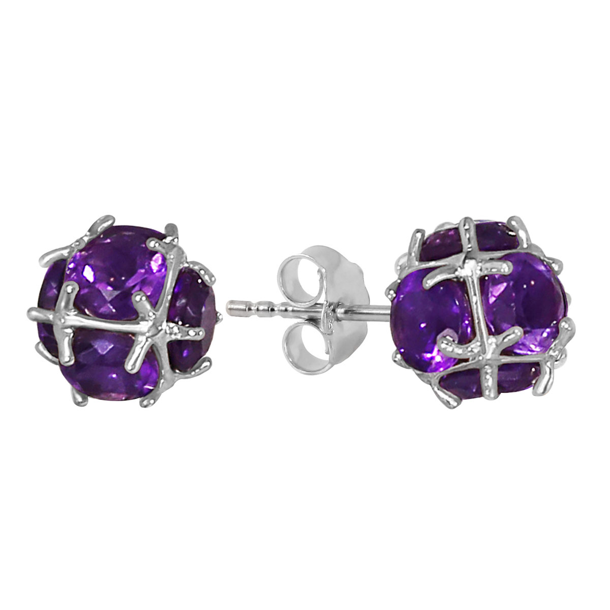 Amethyst Infinity Stone Earrings 5.7 ctw in 9ct White Gold