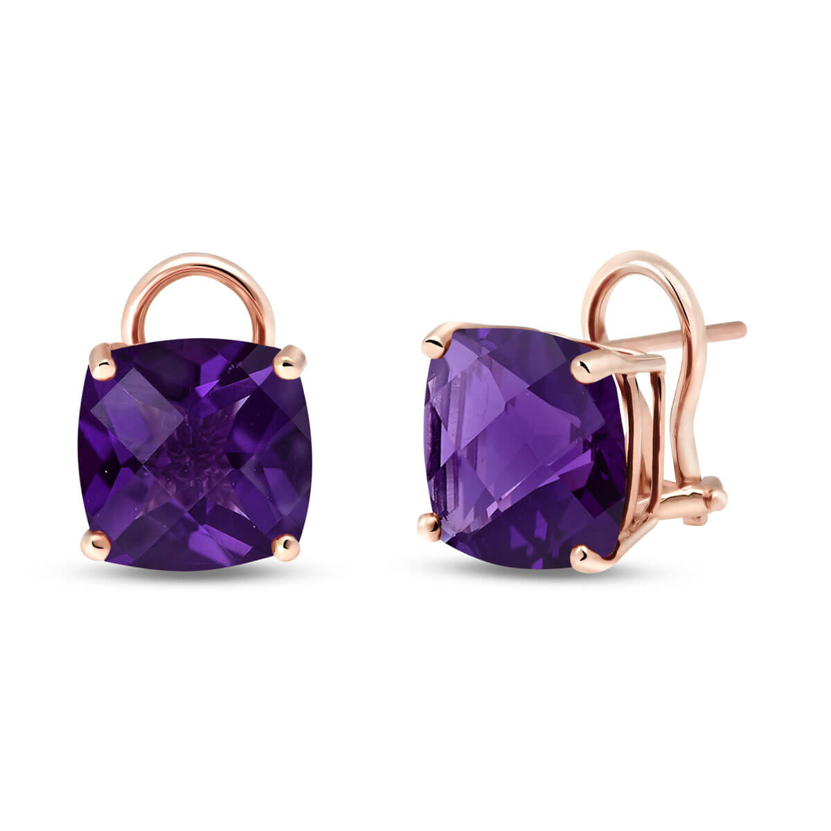 Amethyst Stud Earrings 7.2 ctw in 9ct Rose Gold